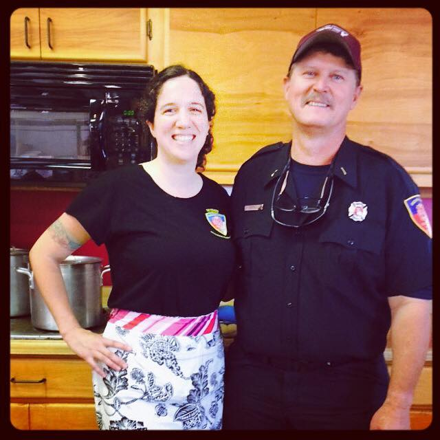 anna in the firehouse kitchen with greg